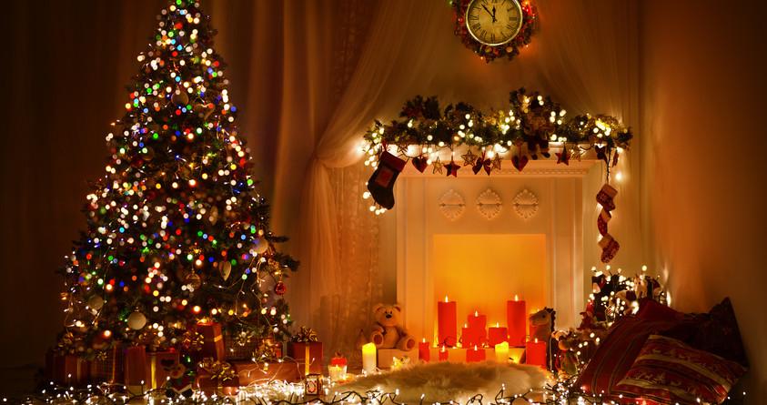 Christmas Room Interior Design, Xmas Tree Decorated By Lights